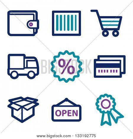 Shopping icon, on-line shop vector web sign.  Sale icon flat. Design mobile icon, vector pictogram. e-commerce infographics symbols.