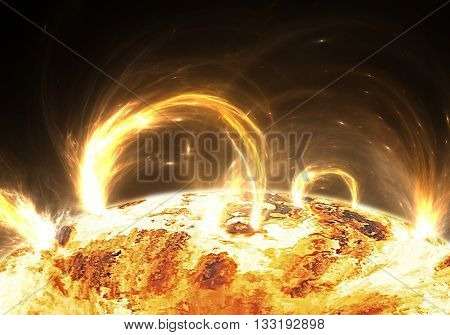 Extreme solar storm or solar flares. Illustration