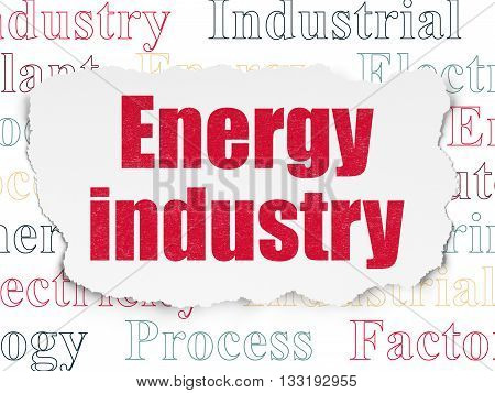 Industry concept: Painted red text Energy Industry on Torn Paper background with  Tag Cloud