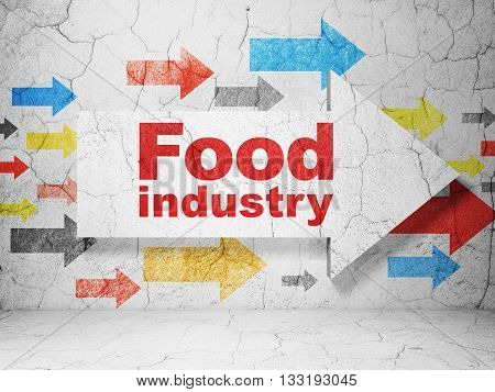 Industry concept:  arrow with Food Industry on grunge textured concrete wall background, 3D rendering