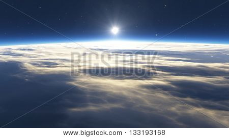 Earth sunrise with clouds sun and stars