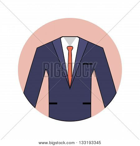 Wedding vector flat icon of blue suit for the groom