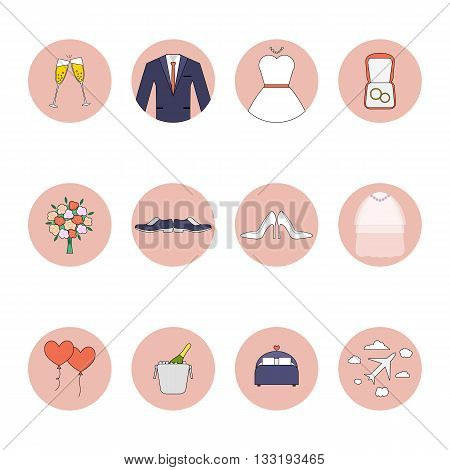 Wedding vector flat icons set. Bride, groom, rings, love, flowers, dress and other objects.