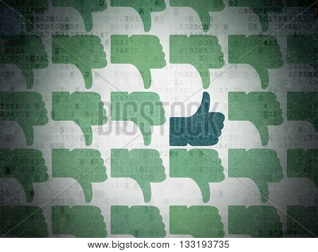 Social network concept: rows of Painted green thumb down icons around blue thumb up icon on Digital Data Paper background