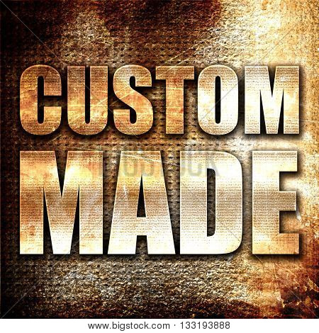 custom made, 3D rendering, metal text on rust background