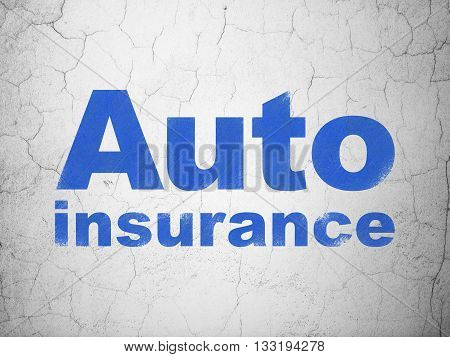 Insurance concept: Blue Auto Insurance on textured concrete wall background