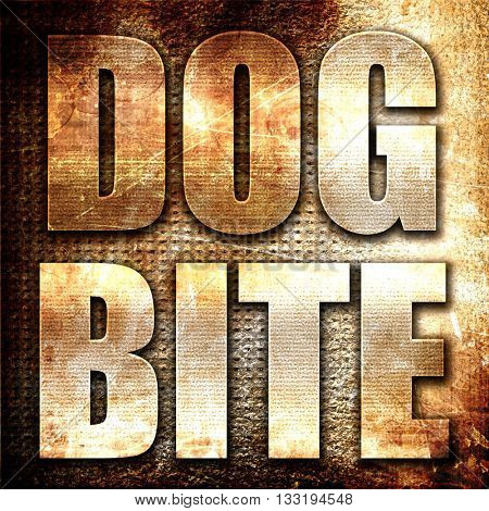 dog bite, 3D rendering, metal text on rust background