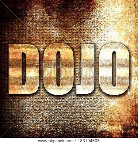 Dojo, 3D rendering, metal text on rust background