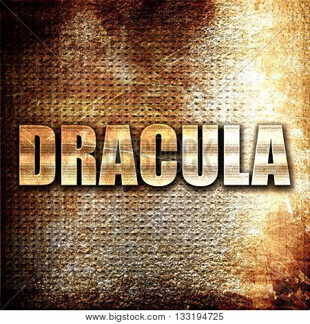 dracula, 3D rendering, metal text on rust background