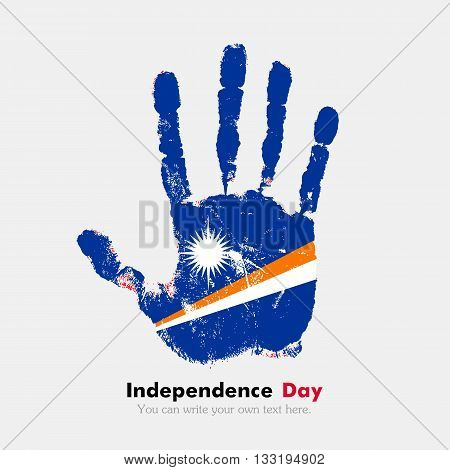 Hand print, which bears the Flag of the Marshall Islands. Independence Day. Grunge style. Grungy hand print with the flag. Hand print and five fingers. Used as an icon, card, greeting, printed materials.