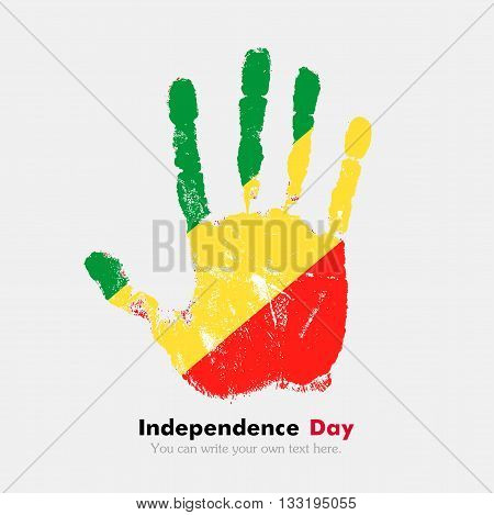 Hand print, which bears the Flag of the Republic of Congo. Independence Day. Grunge style. Grungy hand print with the flag. Hand print and five fingers. Used as an icon, card, greeting, printed materials.
