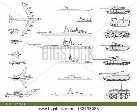 Vector illustration. Big military set: a frigate, an aircraft, tanks and other weapon.