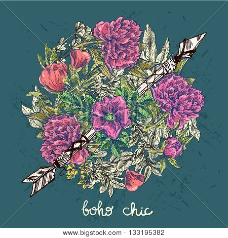 Beautiful hand drawn illustration boho flowers. Flowers for boho-style  wedding invitations. Decorative floral illustration with flowers of rose.