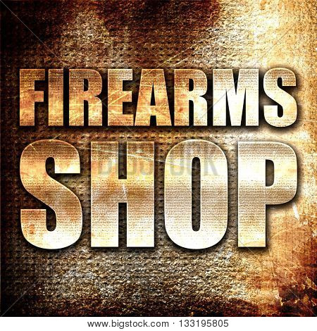 firearms shop, 3D rendering, metal text on rust background