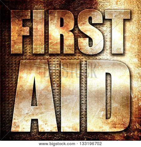 first aid, 3D rendering, metal text on rust background