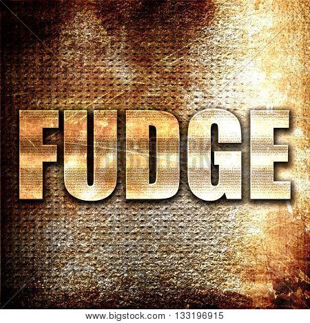 fudge, 3D rendering, metal text on rust background