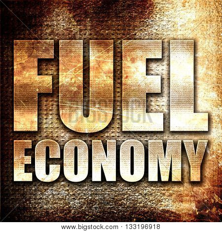 fuel economy, 3D rendering, metal text on rust background