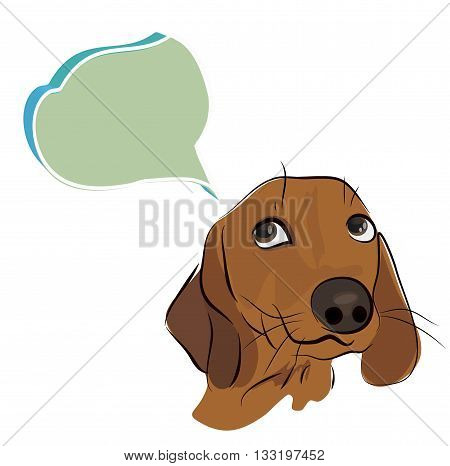 Drawing of a Cute Dachshund Dog with Thinking Cloud
