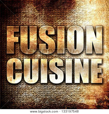 fusion cuisine, 3D rendering, metal text on rust background