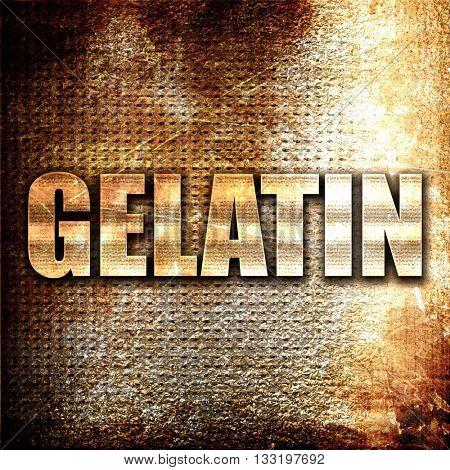 gelatin, 3D rendering, metal text on rust background