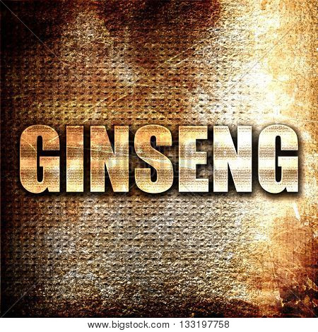 ginseng, 3D rendering, metal text on rust background