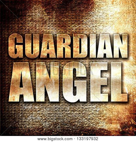 guardian angel, 3D rendering, metal text on rust background