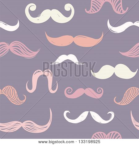 Abstract vector seamless moustache pattern, hipster background, cartoon funny moustaches in pastel colors