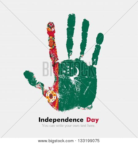 Hand print, which bears the Flag of Turkmenistan. Independence Day. Grunge style. Grungy hand print with the flag. Hand print and five fingers. Used as an icon, card, greeting, printed materials.