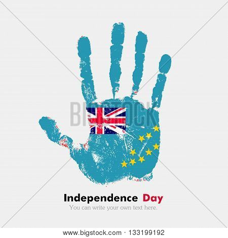 Hand print, which bears the Flag of Tuvalu. Independence Day. Grunge style. Grungy hand print with the flag. Hand print and five fingers. Used as an icon, card, greeting, printed materials.