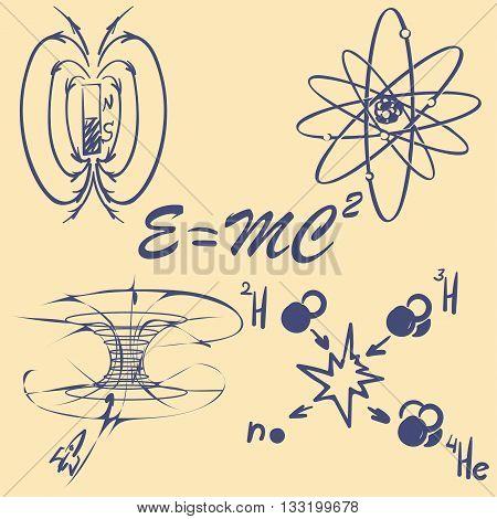 Physycs concepts doodles. Lecture notes. Basic formulas and schemes. EPS8 Vector set.