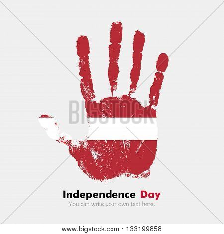 Hand print, which bears the Latvian flag. Independence Day. Grunge style. Grungy hand print with the flag. Hand print and five fingers. Used as an icon, card, greeting, printed materials.