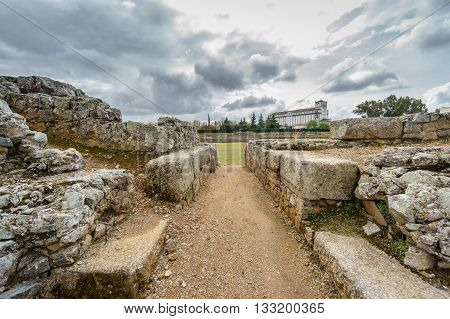 Wide angle entrance to Roman circus in Merida