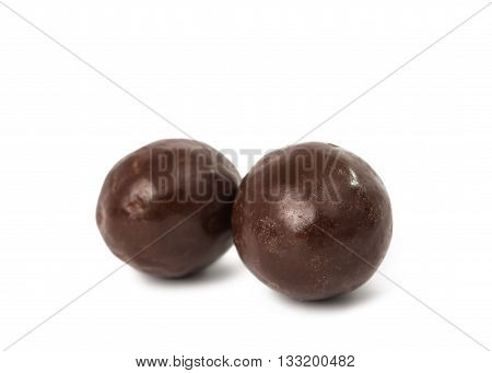chocolate balls isolated on a white background