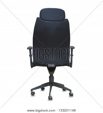 Back view of modern office chair from black cloth isolated over white