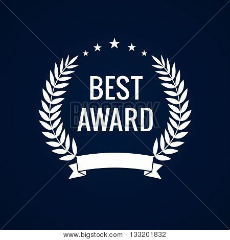 Best award vector laurel wreath sign. Winner label, leaf symbol victory, triumph and success illustration. Best award white laurel star
