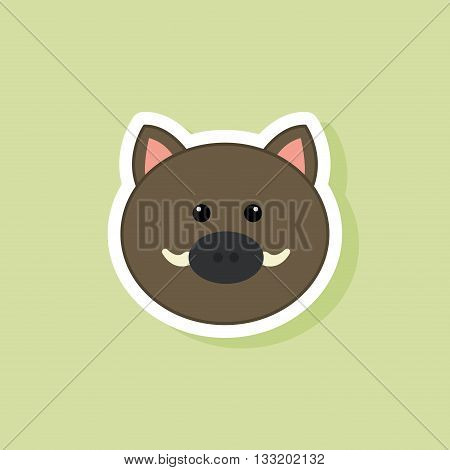 abstract cute wild pig face on a green background