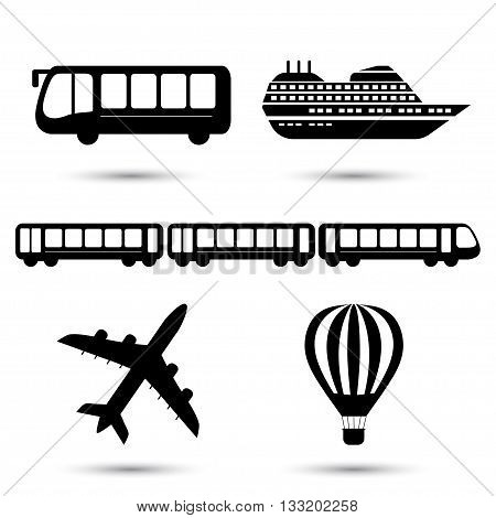 Vector illustration of black transport related icons. Bus ship, train, jet and air balloon symbol