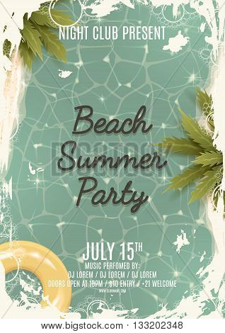Hello summer Beach party retro flyer. Beautiful background on the sea topic with palm trees. Retro party invitation. Vector illustration.