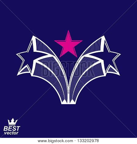 Heraldic design element with celebrative pentagonal stars.
