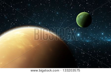 Extrasolar planets or exoplanets. Space background and stars with planets. Illustration