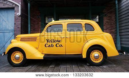 Yellow Car In Universal Studios At Singapore