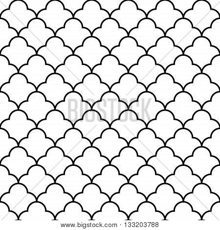 Black and white arabic traditional quatrefoil seamless pattern, vector background