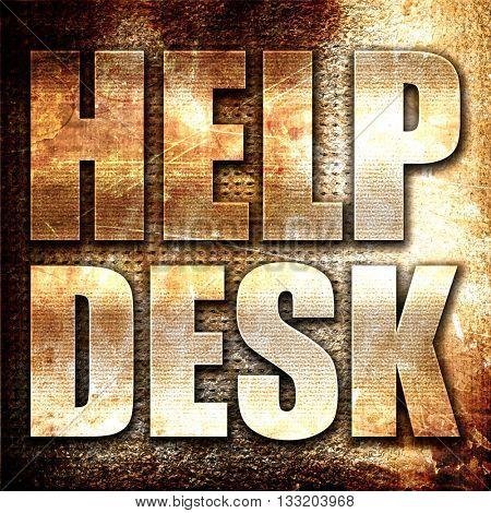 Helpdesk, 3D rendering, metal text on rust background