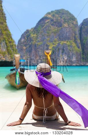 A sexy young woman on Maya bay beach in Phi Phi Thailand