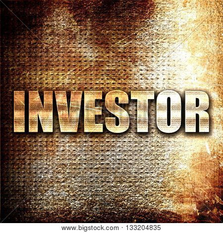 investor, 3D rendering, metal text on rust background