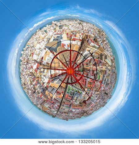 Blasted planet cityscape from aerial view. Concept of green ecosystem conservation, pollution, armageddon and war or nuclear missile blast