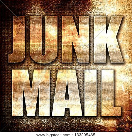 junk mail, 3D rendering, metal text on rust background