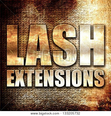 lash extensions, 3D rendering, metal text on rust background