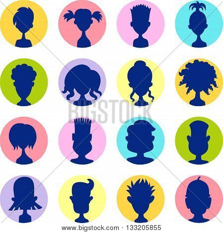 Men women child colorful avatar profile picture icon set - vector