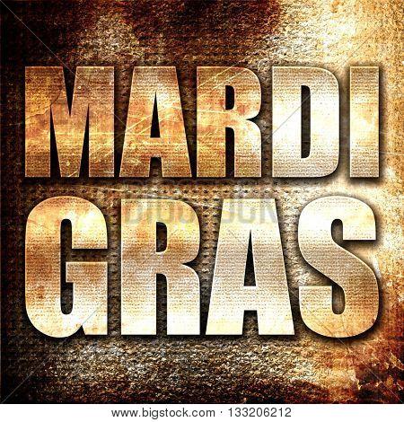 Mardi Gras, 3D rendering, metal text on rust background